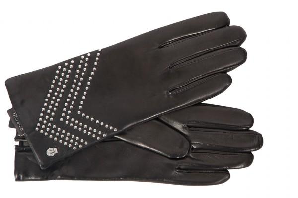 Modischer Damenhandschuh mit Nietendekor in schwarz