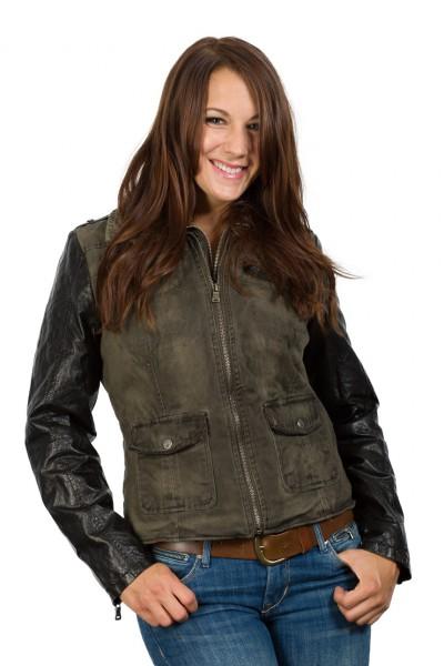 Tolle modische Jacke im trendstarken Materialmix von Gipsy grün schwarz