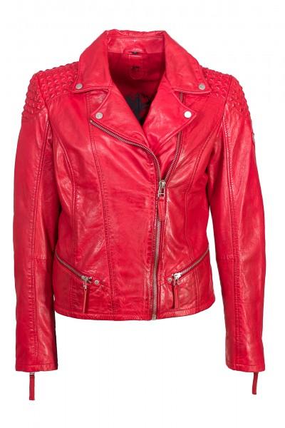 Gipsy Damen Lederjacke mit Designelementen rot