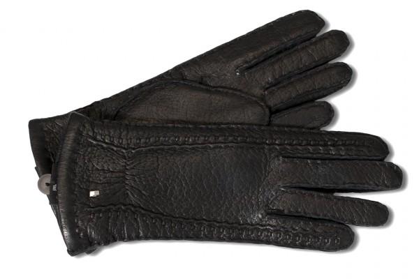 Exquisite Luxus Lederhandschuhe aus feinstem Peccaryleder schwarz