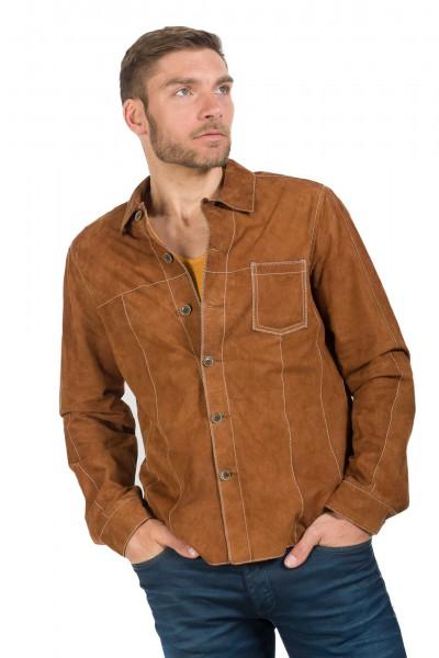 Sportives Lederhemd aus Ziegenvelours von Milestone in cognac