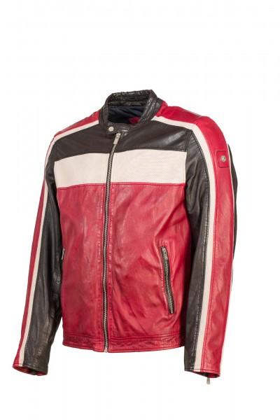 Milestone Bikerjacke schwarz rot Jack