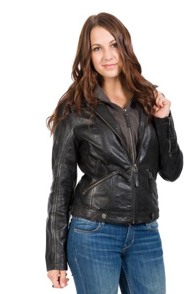Trendige Gipsy Lederjacke mit Kapuze aus Leder schwarz