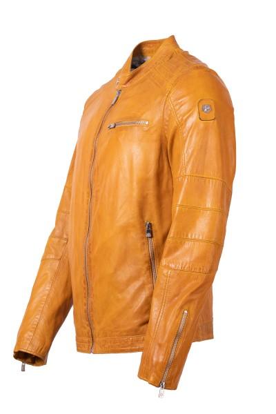 Milestone Lederjacke gelb Seitenansicht