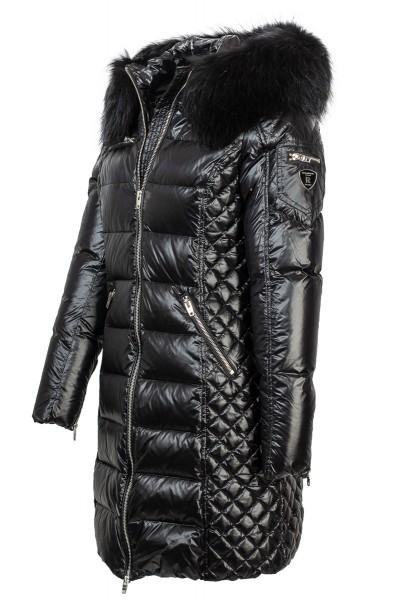 Rockandblue Damen Daunenjacke schwarz mit tollem Fellkragen