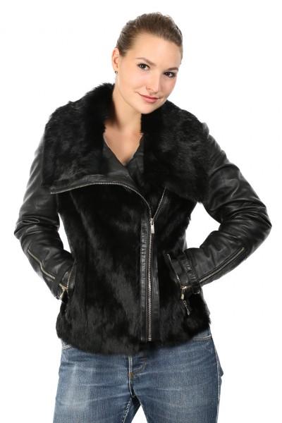 Luxeriöse Fashionjacke mit Echtfell in schwarz