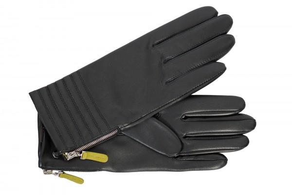 Gefütterte Damen Handschuhe von Roeckl in schwarz/kiwi