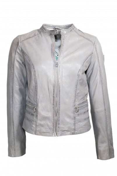 Gipsy Lederjacke light grey Laila