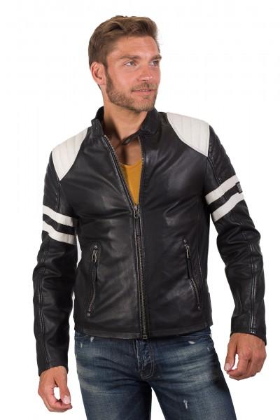 Gipsy Bikerjacke schwarz weiß Roar