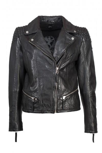 Gipsy Damen Lederjacke mit Designelementen schwarz