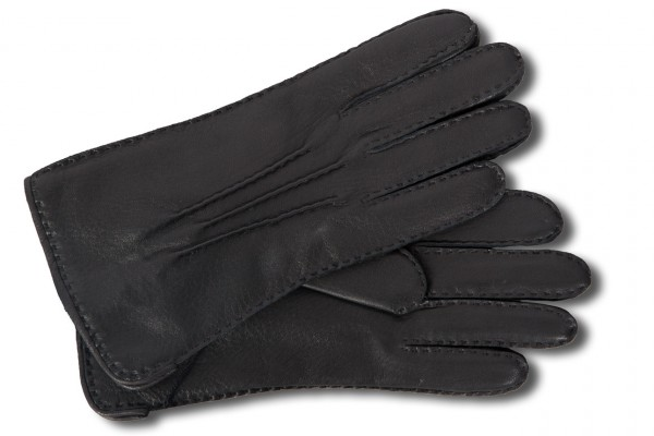 Klassische schwarze Hirschlederhandschuhe mit Kaschmir-Futter