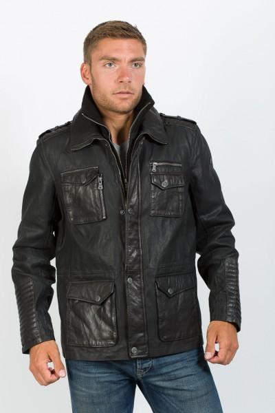 Modisches Long Jacket von Gipsy in einer coolen Leder-Stoffkombination schwarz
