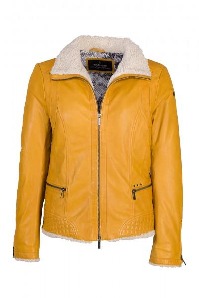 Milestone Lederjacke Damen gelb