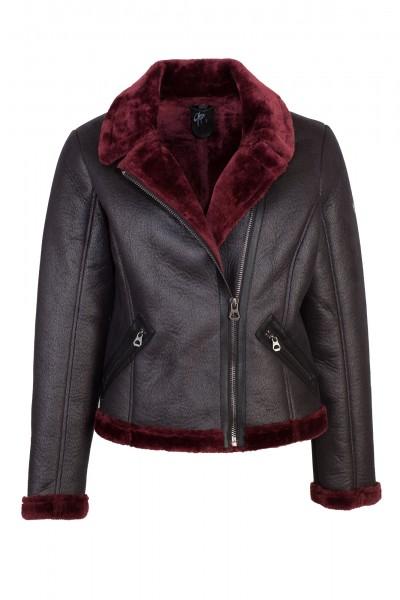 Gipsy Kunstlederjacke Damen schwarz rot
