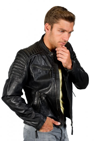 Hervorragende Lederjacke Stil coole Bikerjacke Lammnappa schwarz