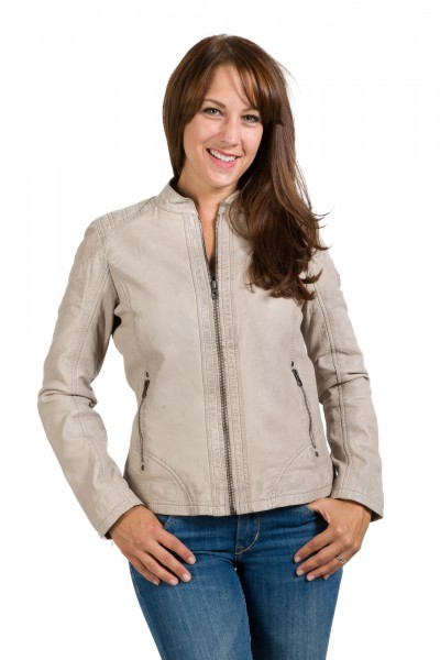 Gipsy Damen Lederjacke light grey Front Ninny