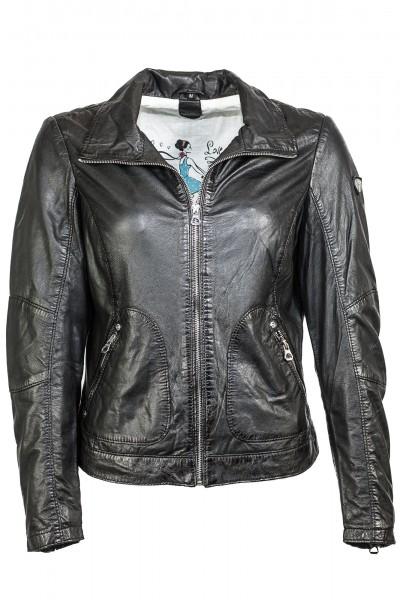 Lässige Lederjacke von Gipsy in schwarz