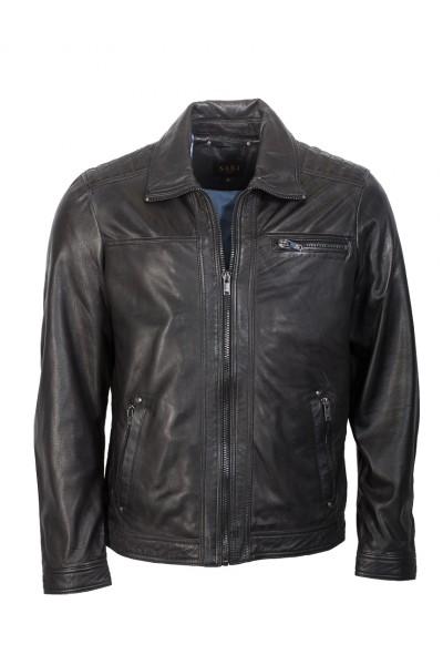 Klassische Lederjacke von Saki in schwarz