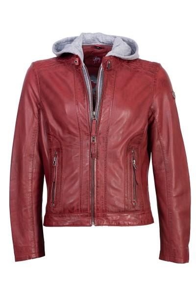 Gipsy Lederjacke Damen rot mit Kapuze