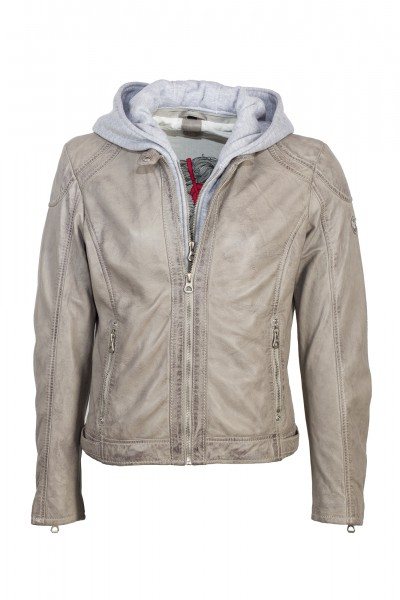 Gipsy Lederjacke mit Kapuze Angy light grey