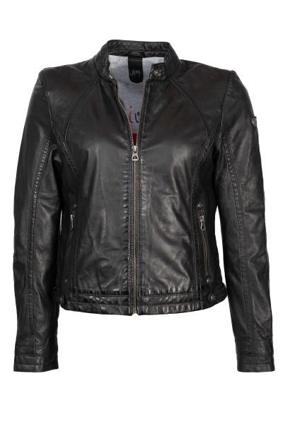 Gipsy Lederjacke schwarz Stehkragen