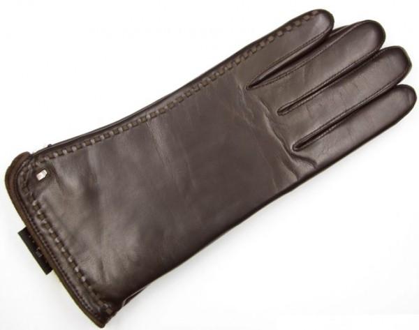 Dunkelbraune Roeckl Damenhandschuhe mit Velourlederdurchzüge