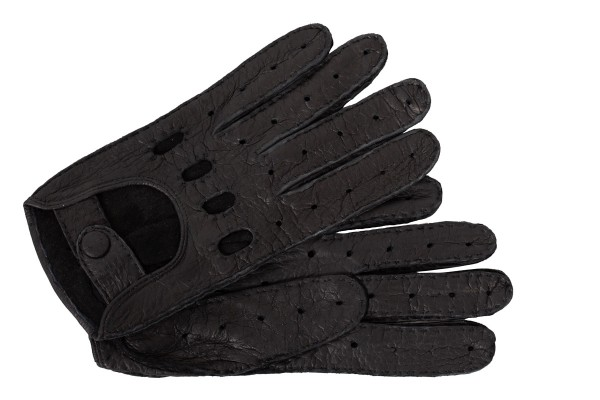 Klasse Herren Peccary Autohandschuhe schwarz mit ganzen Fingern