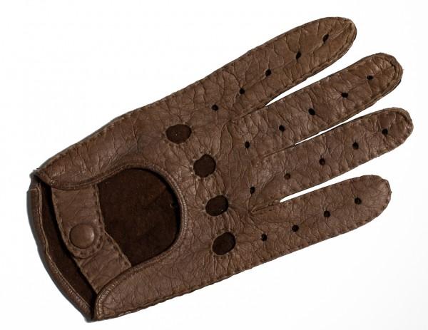 Peccary Autohandschuhe mit ganzen Fingern braun (Damen)
