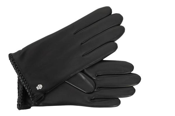Roeckl Damen Handschuh schwarz mit Kaschmirfutter und Flechtnaht
