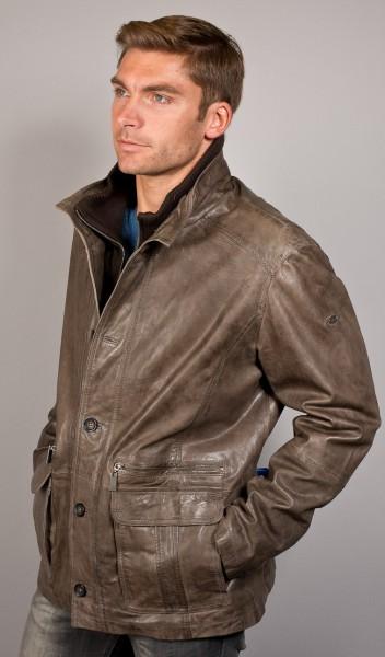 Klasse taupefarbene Lederjacke mit Einsatz von Trapper