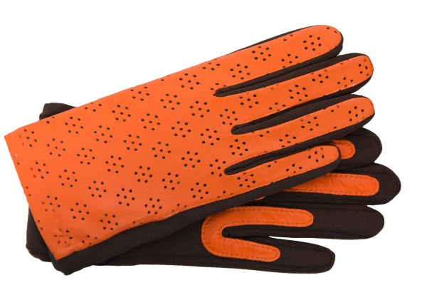 Hübscher Handschuh für Damen mir floraler Perforation in orange braun