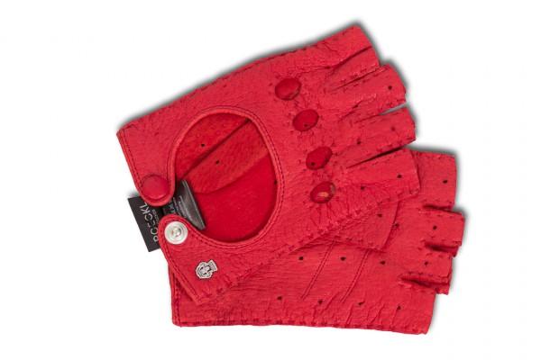 Modische Halbfinger- Autohandschuhe für Damen rot