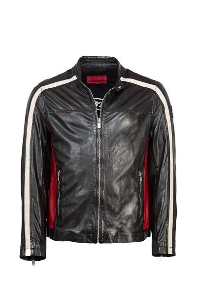 Ausdrucksstarke Lederjacke von Milestone schwarz Streifen