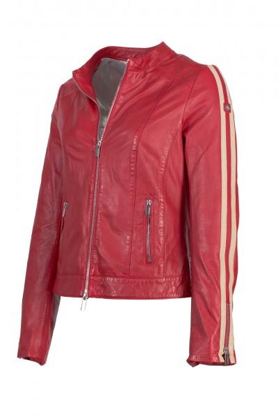 Milestone Lederjacke mit Streifen rot Cathie