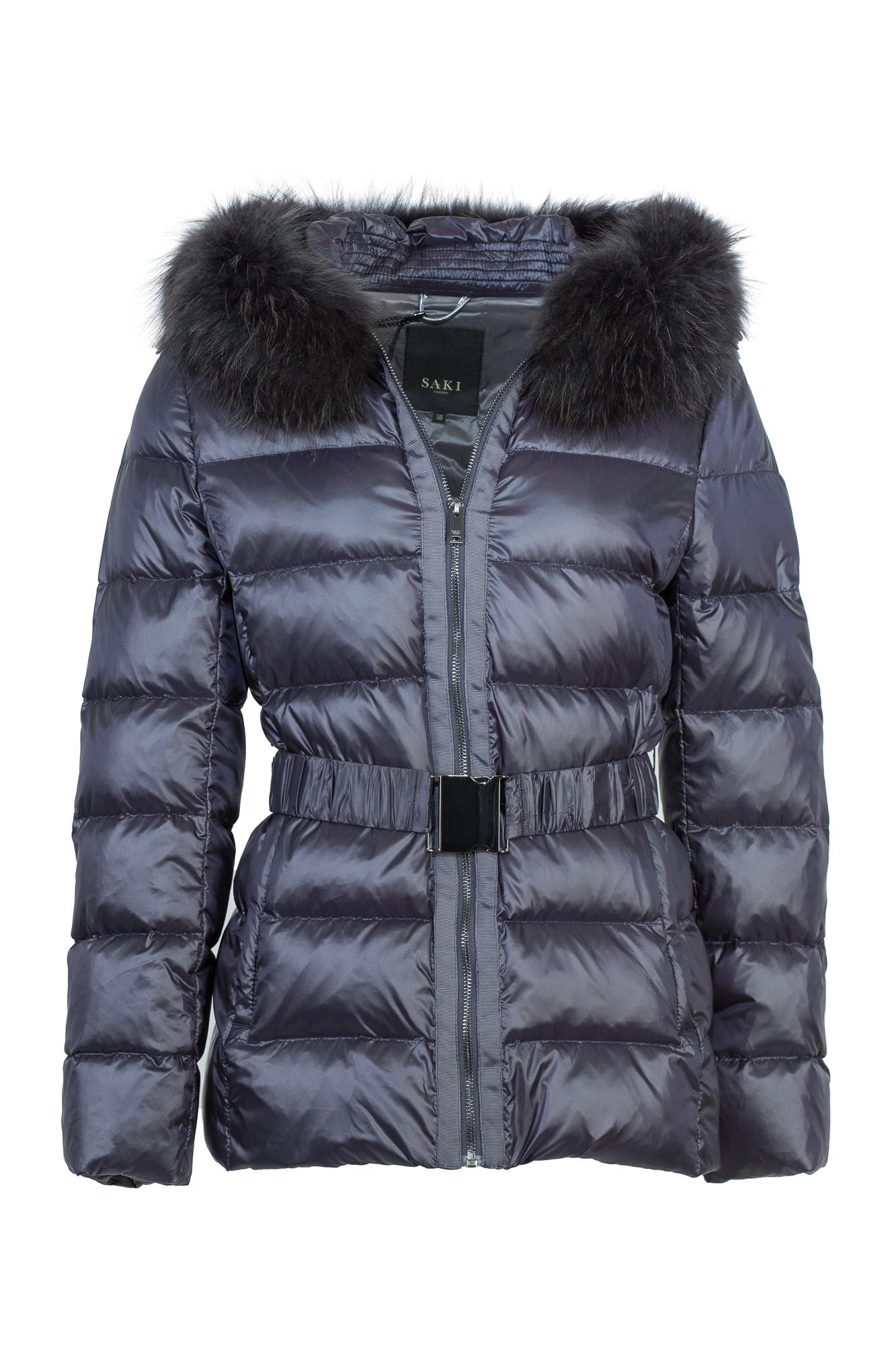 best cheap 745c6 1e942 Damen Daunenjacke mit Gürtel und Kapuze von Saki in nachtblau-schwarz