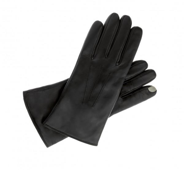Touch taugliche Leder Handschuhe für Tablet und Smartphones schwarz