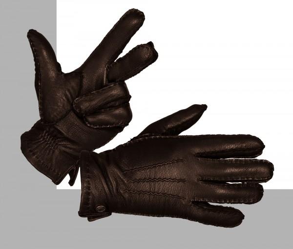 Modische Herrenhandschuhe von Bugatti aus Hirschnappa in braun