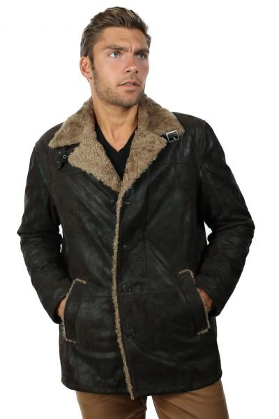 Coole Outdoor-Jacke aus Veloursleder in dunkelbraun