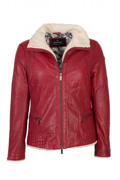 Milestone Lederjacke Damen Wattierung rot