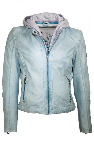Trendige Lederjacke von Gipsy mit Kapuze in light blue