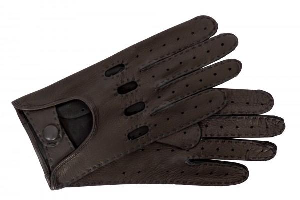 Leatherando Herren Autofahrer Hirschleder schwarz