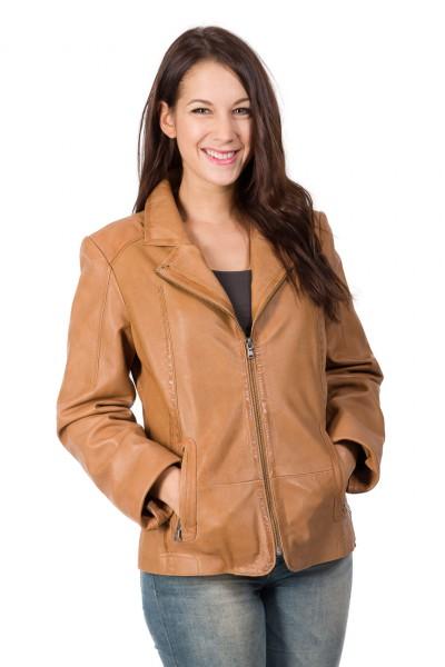 Federleichte Lederjacke für Damen aus weichem Lammnappa beige