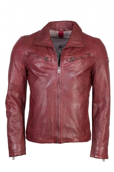 Trendige Lederjacke von Gipsy in ox red/bordeaux