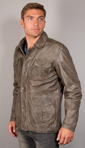 Taupe farbene Lederjacke von Trapper mit vielen praktischen Details