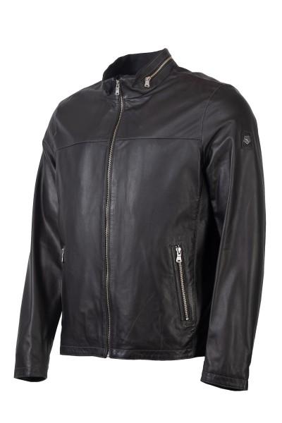 Milestone schwarze Heren Lederjacke mit Kragen