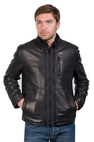 Sportive Lederjacke von Trapper in schwarz