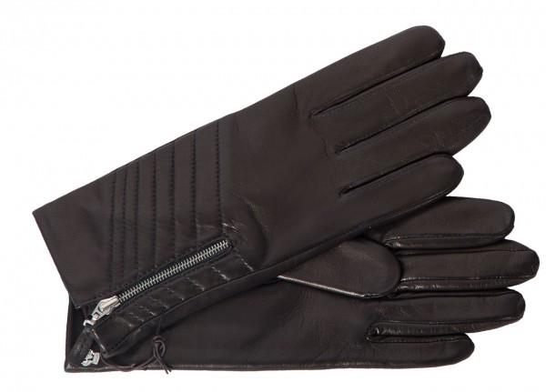 Trendige Handschuhe für Damen aus Haarschaf-Nappaleder in schwarz